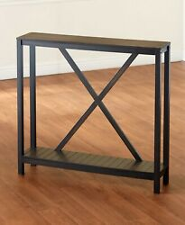 Two-tone Black Wood Console Side Table Skinny Slim Farmhouse Country Rustic