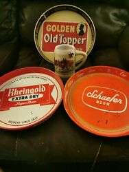 Budweiser Champion Clydesdales Holiday Beer 1980 Mug And 3 Vintage Beer Trays