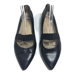 Anyi Lu Pointed Ballet Flats Shoes Snake Black Women's 38 8