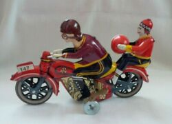 Paya 147 Vintage Wind-up Tin Toy Motorcycle With Man And Child Riders