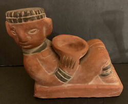 Vintage Aztec Chacmool Figurine Holding Bowl Red Clay