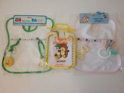 9 New Vintage Baby Bibs 2 Plastic Terry With Rattles And 7 Days Of The Week Set
