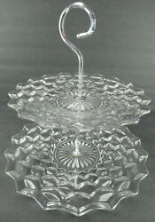 Fostoria American 2 Tier Tidbit Stand/tray Chrome Handle Approx 9 And 11 Dia.