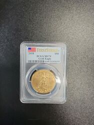 2018 50 American Gold Eagle Coin One Ounce Pcgs Ms70 First Strike