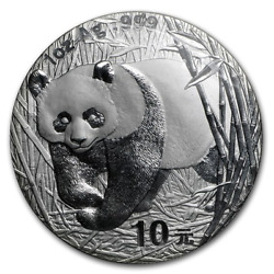 2002 Chinese 1 Oz Silver Panda Mint State Condition