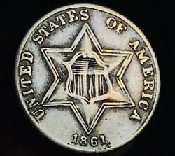 1861 Three Cent Silver Piece Trime 3c Type 3 Contemporary Forgery Us Coin Cc8605