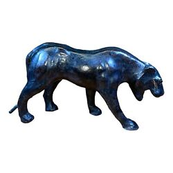 Vtg Black Panther Leather Covered Paper Mache Figurine Statue Mid Century 24l