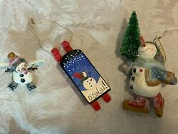 Vintage House Of Hatten Lot Of 3 Christmas Snowman Sled Ornaments Denise Calla