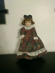 Porcelain Doll 13 Red And Green Printed Dress