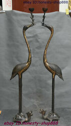 China Bronze Dragon Turtle Red-crowned Crane Bird Candle Holder Candlestick Pair