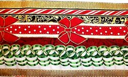 CHOOSE ONE : CHRISTMAS CANDY COTTON FABRIC BORDER STRIPS 1 YARD ASSORTED WIDTH