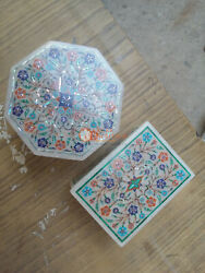 White Marble Pair Jewelry Box Marquetry Fine Floral Design Decorative Gift Loves