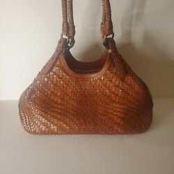 Cole Haan Large Genevieve Brown Weave Leather Shoulder Bag Purse Hobo $120.00