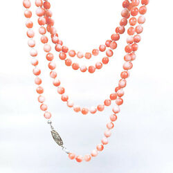Antique Andbull Victorian Natural Coral Bead Necklace W/ 14k White Gold Diamond Clasp