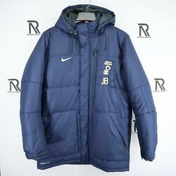 Mens Nike Storm Fit1 Blue Thermal Puffer Jacket Size Large Removable Hood Soccer