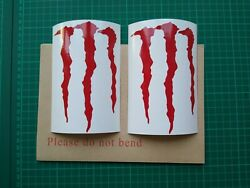 Monster Energy Claw X 4 Decals Gloss Red Computer Cut Stickers 145mm X 95mm