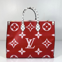 Louis Vuitton Limited Edition Giant Monogram Onthego Gm In Red And Pink