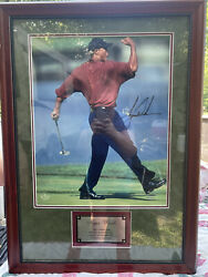 Tiger Woods Authentic Autographed Framed Picture With Tiger Woods Blvd Sign