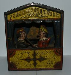 Antique Vintage Original Cast Iron Punch And Judy Mechanical Penny Bank