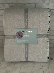 Roca Home Gray Stripe Queen Blanket Made In Portugal Cotton Blend 90x90
