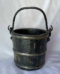Antique 19c Country Primitive Staved Wood Pail Berry Bucket Wrought Iron Handle
