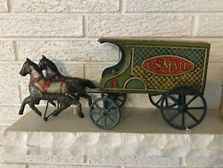 Vintage Converse Tin Litho And Wood United States Mail 2 Horse Drawn Wagon