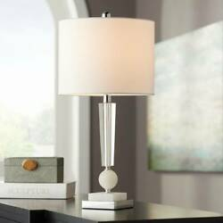 Modern Table Lamp Stacked Crystal Faux Marble For Living Room Bedroom Office