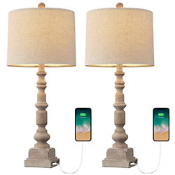 Oneach Vintage Table Lamps With Dual Usb Port For Living Room Bedroom Farmhouse