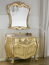 Bathroom Vanity Unit Anderson Baroque French Style Gold Leaf Marble Cream Knobs