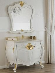 Bathroom Vanity Unit Anderson Baroque Decape Style Ivory And Gold Leaf Marble Cr
