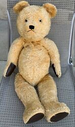 Vintage Big Old Mohair Teddy Bear Glass Eyes Floss Nose Jointed