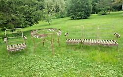 Vintage Architectural Garden Wrought Iron Table W/ Patio Chair And 3pc Settee