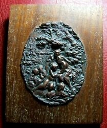 Antique Naked Women Playing In A Water Sources Rare Plaque On Wood