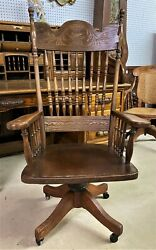 Antique American Golden Oak Roll Top Office Desk Chair Swivels Carved Circa 1895
