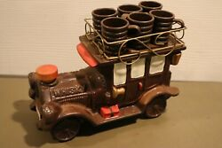 Vintage Whiskey Old Classic Car With Roof Rack Decanter And 6 Shot Glasses 7.5andrdquo