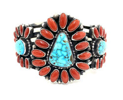 Native American Sterling Silver Spiderwebs With Natural Coral Cuff Bracelet
