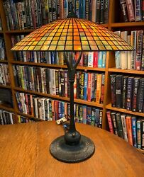 Antique Reproduction Parasol Square Mosaic Leaded Glass Lamp Fluted Base