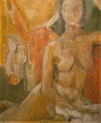 Mid Century Modern Nude Figure Portrait With Still Life Cubist Abstract Painting