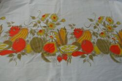 Vintage Cotton Border Print Abstract Veges amp; Flowers 3.16 yrds 28quot; Wide