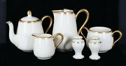 Rare Antique Lenox China Ivory And Gold 86b Pattern 8 Pc Partial Breakfast Set