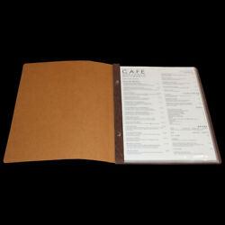 A4 Leather And Wood Menu Cover 10 Pockets And Free Freight