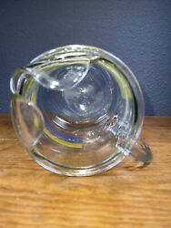 Vintage Rainbow Striped Clear Glass Pitcher With Ice Lip 8 Cups 2 Quarts
