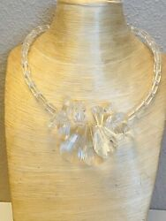 Vtg Statement 60s Necklace Ice Lucite Collar Massive Choker Beaded Iconic Rare