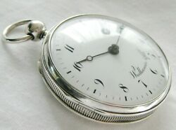 Gorgeous Silver Swiss Verge Fusee Pocket Watch Wuilleumier And Fils Top.