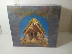 Fontanini Heirloom Nativity Scene Set Of 7 W/ Wood Manger Made In Italy W Boxes