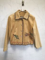 Patricia Wolf Buckskin Suede Leather Western Jacket M Hand Painted Wild Horses