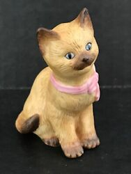 1994 LENOX SIAMESE CAT KITTEN FIGURINE WITH PINK BOW