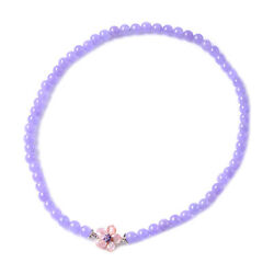 925 Sterling Silver Purple Jade Amethyst Charm Necklace Gift Size 18 Ct 272.2