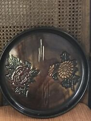 Vintage Japanese Black/brown Metal Round 13andrdquo Tray Red And Yellow Flowers Litaandrsquos