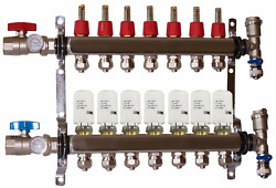 7 Loop/branch 1/2 Stainless Steel Pex Manifold With 4 Wire Actuators